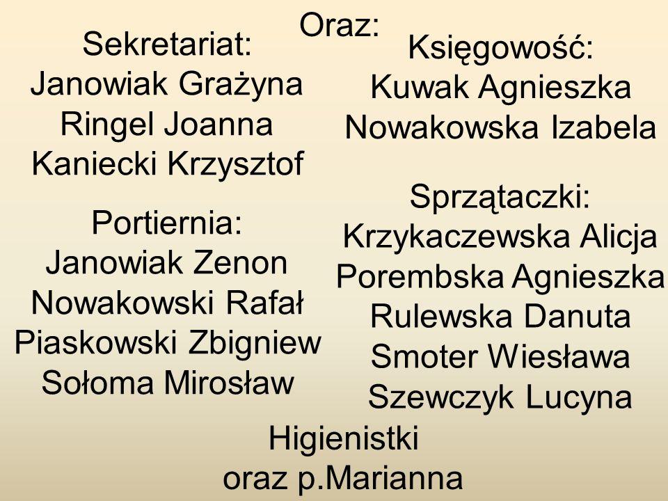 Sekretariat: Janowiak Grażyna Ringel Joanna Kaniecki Krzysztof