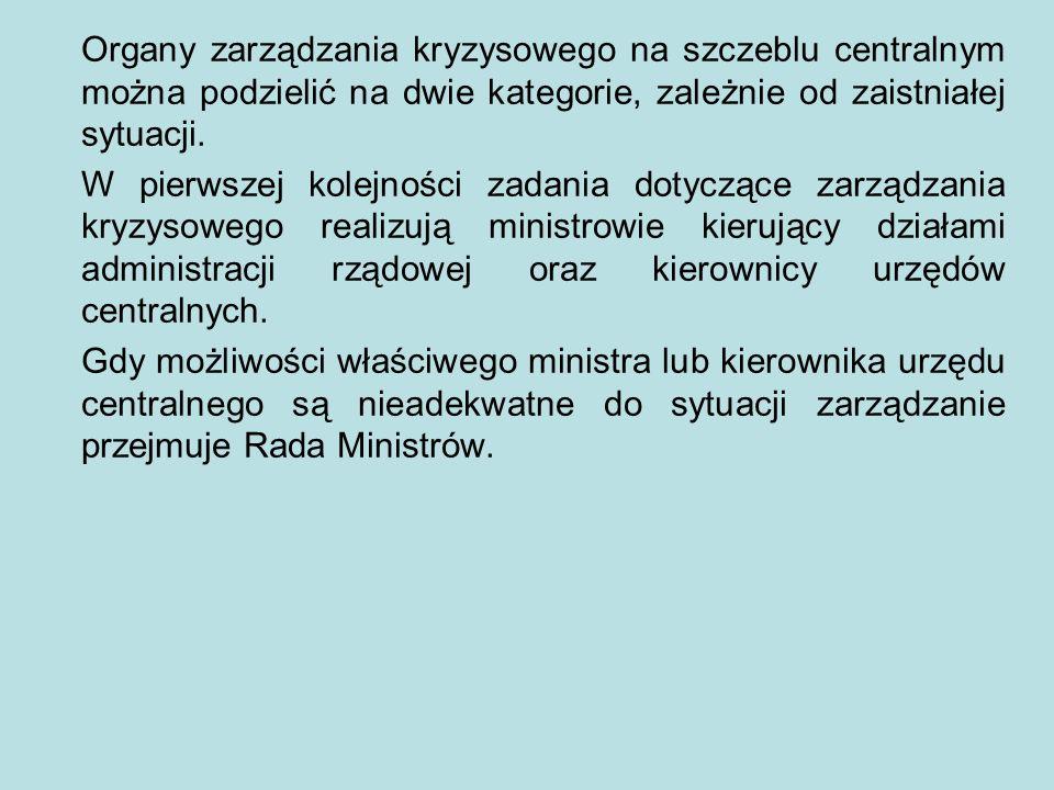 Organy zarządzania kryzysowego na szczeblu centralnym można podzielić na dwie kategorie, zależnie od zaistniałej sytuacji.