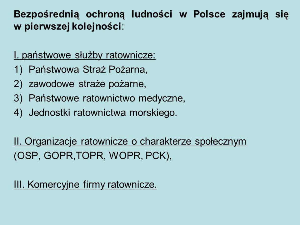 Bezpośrednią ochroną ludności w Polsce zajmują się w pierwszej kolejności: