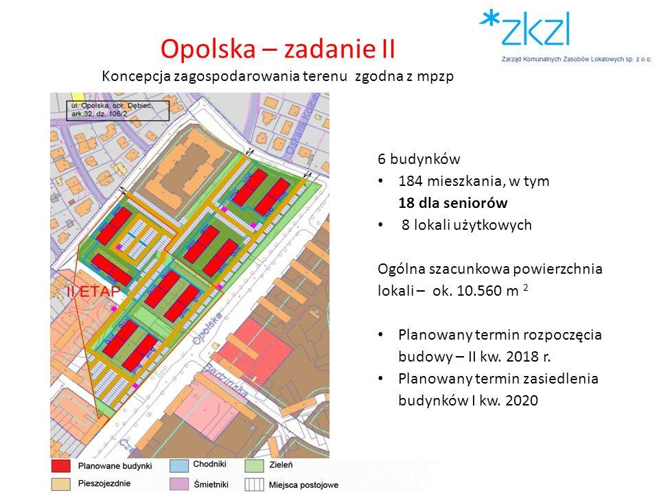 Opolska – zadanie II Koncepcja zagospodarowania terenu zgodna z mpzp