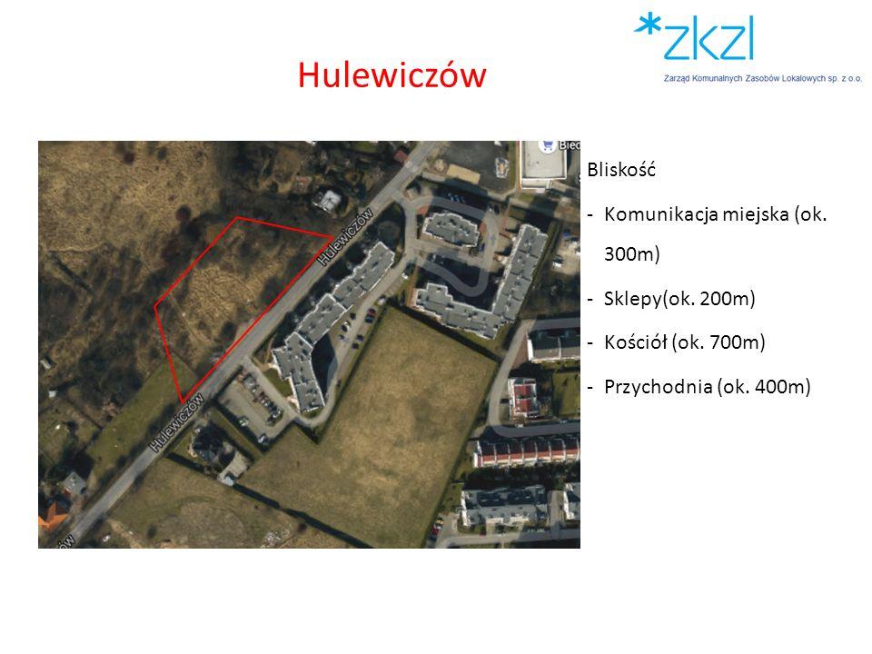 Hulewiczów Bliskość Komunikacja miejska (ok. 300m) Sklepy(ok. 200m)