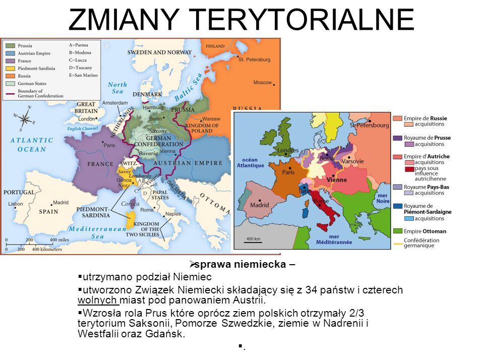ZMIANY TERYTORIALNE sprawa niemiecka – utrzymano podział Niemiec