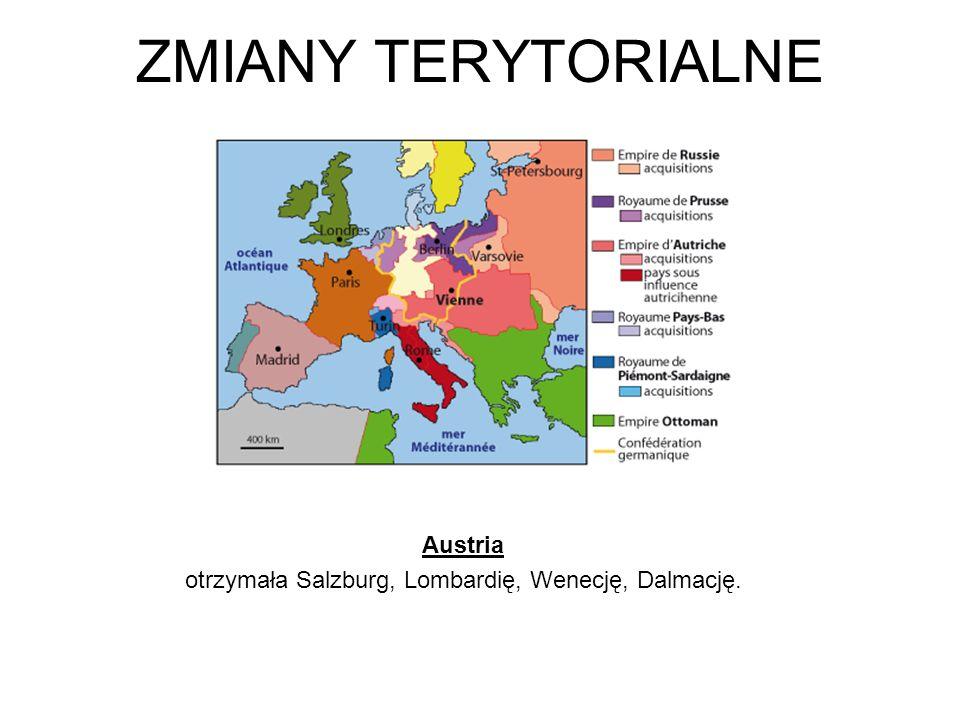 Austria otrzymała Salzburg, Lombardię, Wenecję, Dalmację.