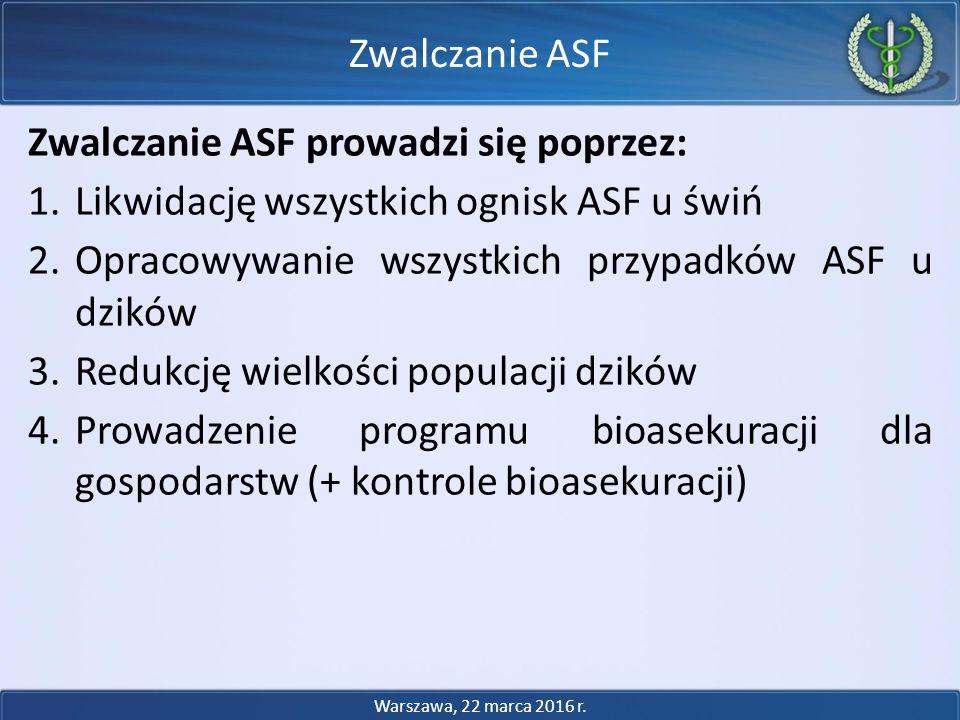 Zwalczanie ASF prowadzi się poprzez: