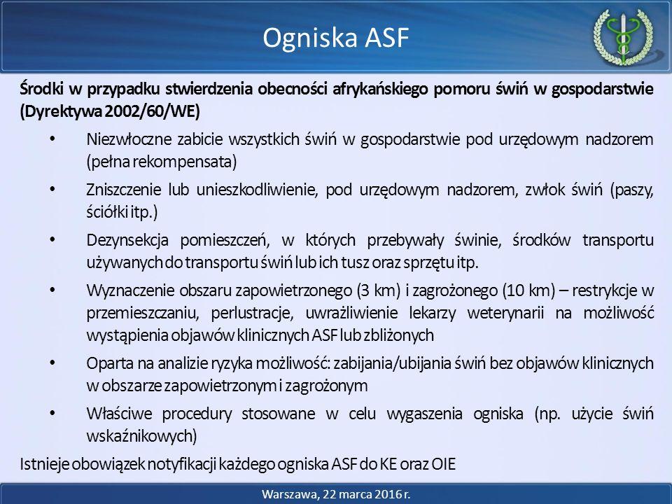 Ogniska ASF Środki w przypadku stwierdzenia obecności afrykańskiego pomoru świń w gospodarstwie (Dyrektywa 2002/60/WE)
