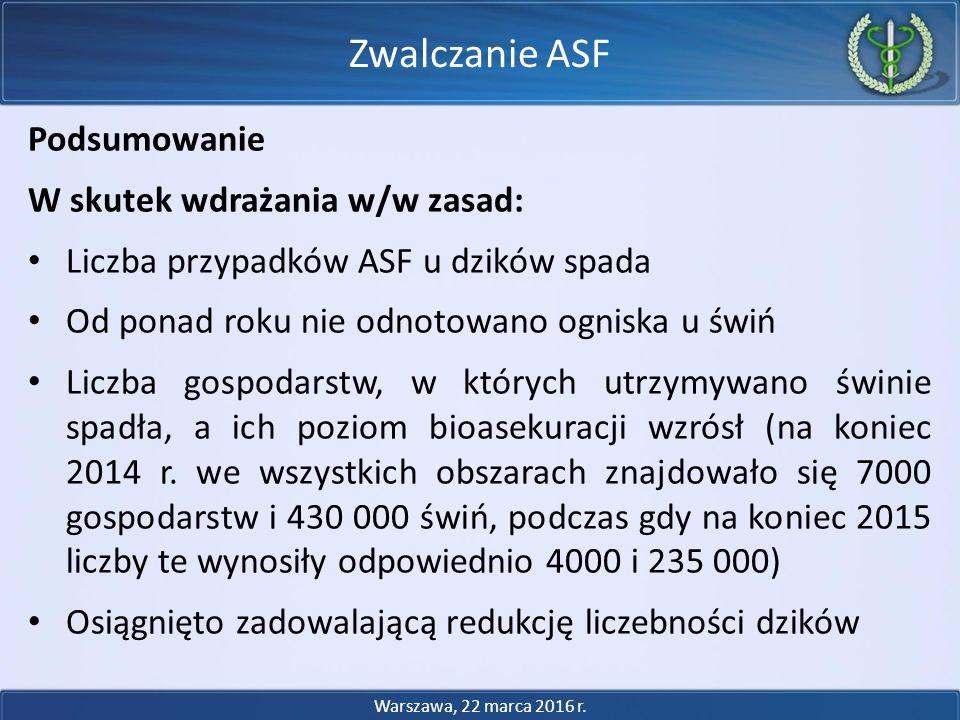 Zwalczanie ASF Podsumowanie W skutek wdrażania w/w zasad: