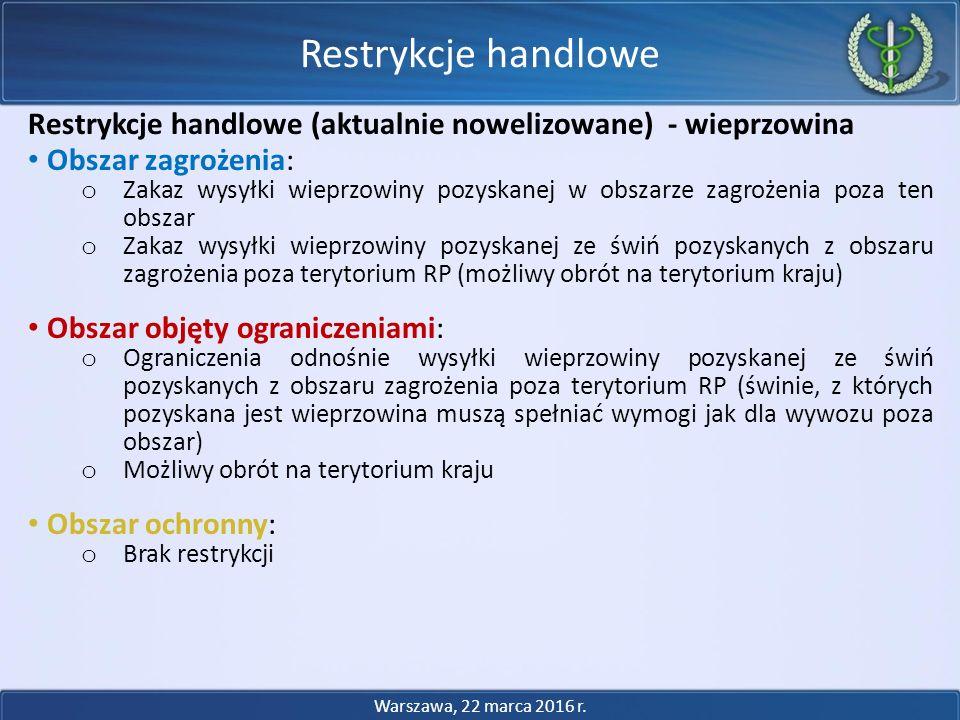 Restrykcje handlowe Restrykcje handlowe (aktualnie nowelizowane) - wieprzowina. Obszar zagrożenia: