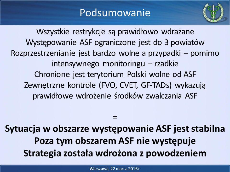 Podsumowanie Sytuacja w obszarze występowanie ASF jest stabilna