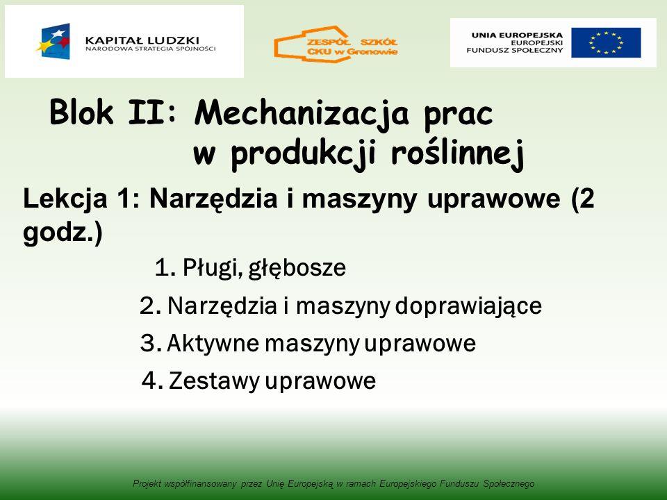 Blok II: Mechanizacja prac w produkcji roślinnej