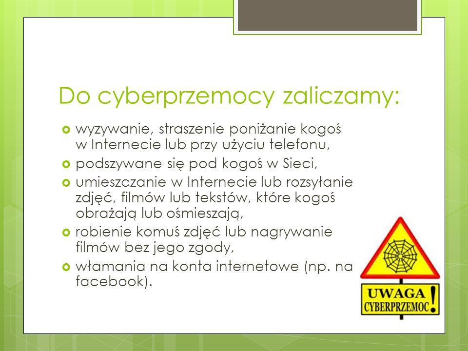 Do cyberprzemocy zaliczamy: