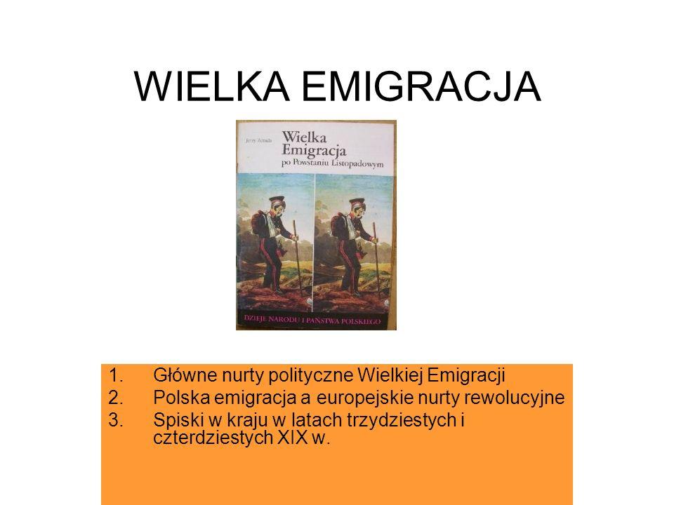 WIELKA EMIGRACJA Główne nurty polityczne Wielkiej Emigracji