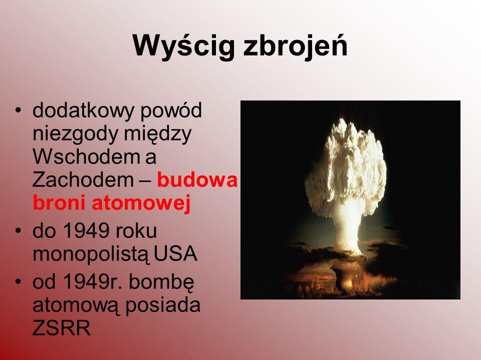 Wyścig zbrojeń dodatkowy powód niezgody między Wschodem a Zachodem – budowa broni atomowej. do 1949 roku monopolistą USA.