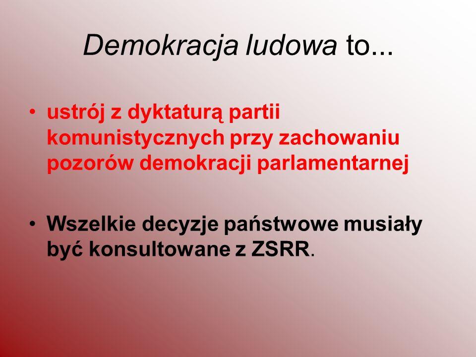 Demokracja ludowa to... ustrój z dyktaturą partii komunistycznych przy zachowaniu pozorów demokracji parlamentarnej.