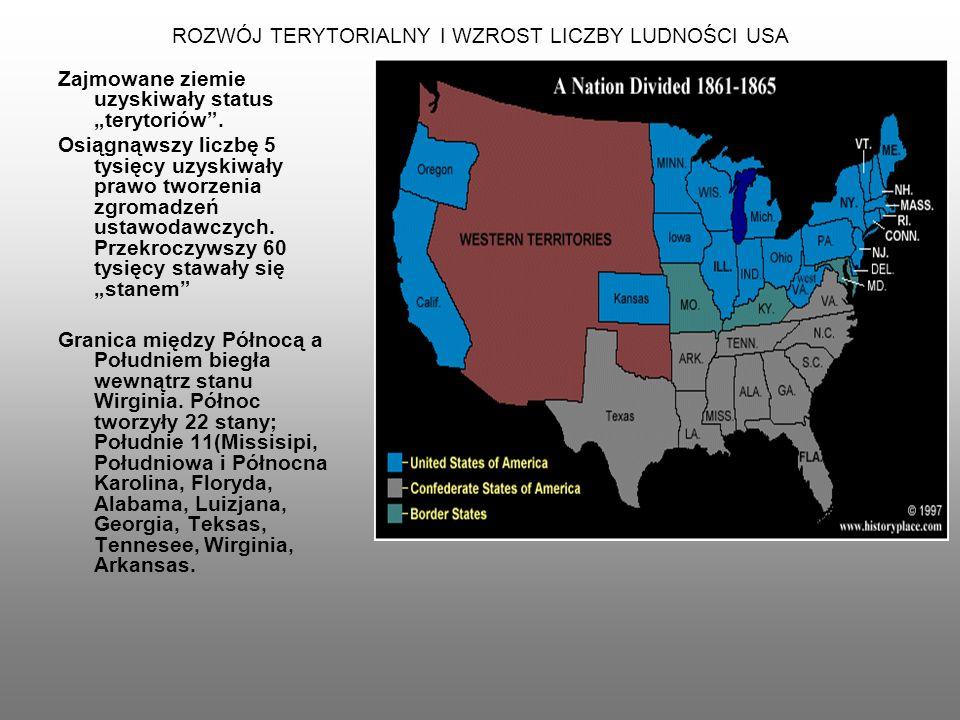 ROZWÓJ TERYTORIALNY I WZROST LICZBY LUDNOŚCI USA