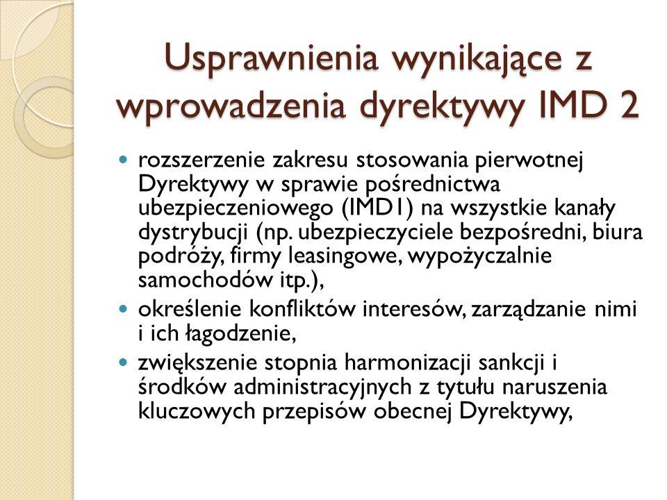 Usprawnienia wynikające z wprowadzenia dyrektywy IMD 2