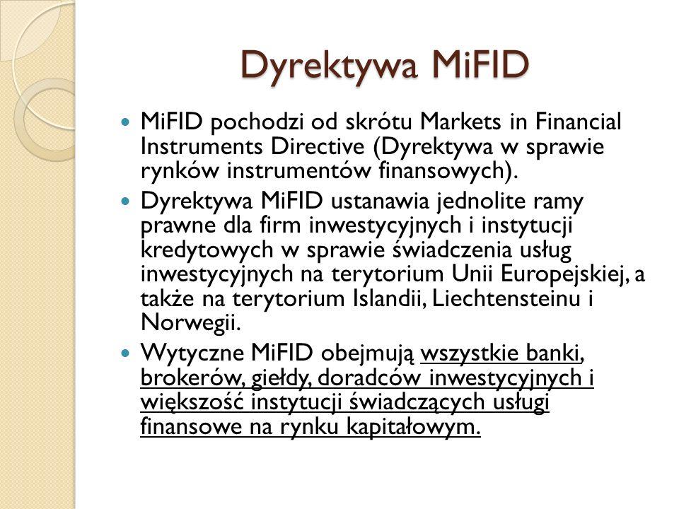Dyrektywa MiFID MiFID pochodzi od skrótu Markets in Financial Instruments Directive (Dyrektywa w sprawie rynków instrumentów finansowych).