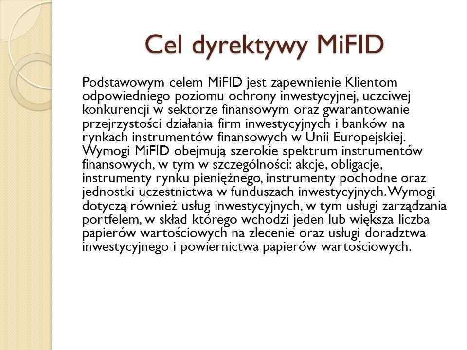 Cel dyrektywy MiFID