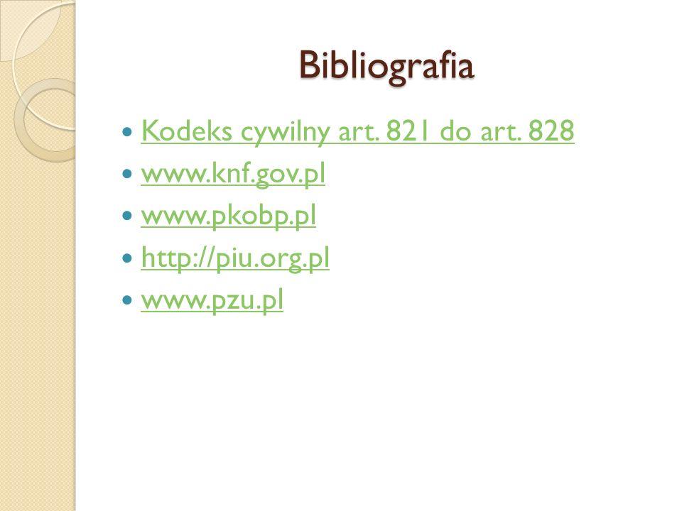 Bibliografia Kodeks cywilny art. 821 do art. 828 www.knf.gov.pl