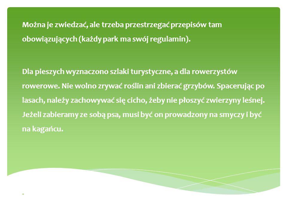 Można je zwiedzać, ale trzeba przestrzegać przepisów tam obowiązujących (każdy park ma swój regulamin).