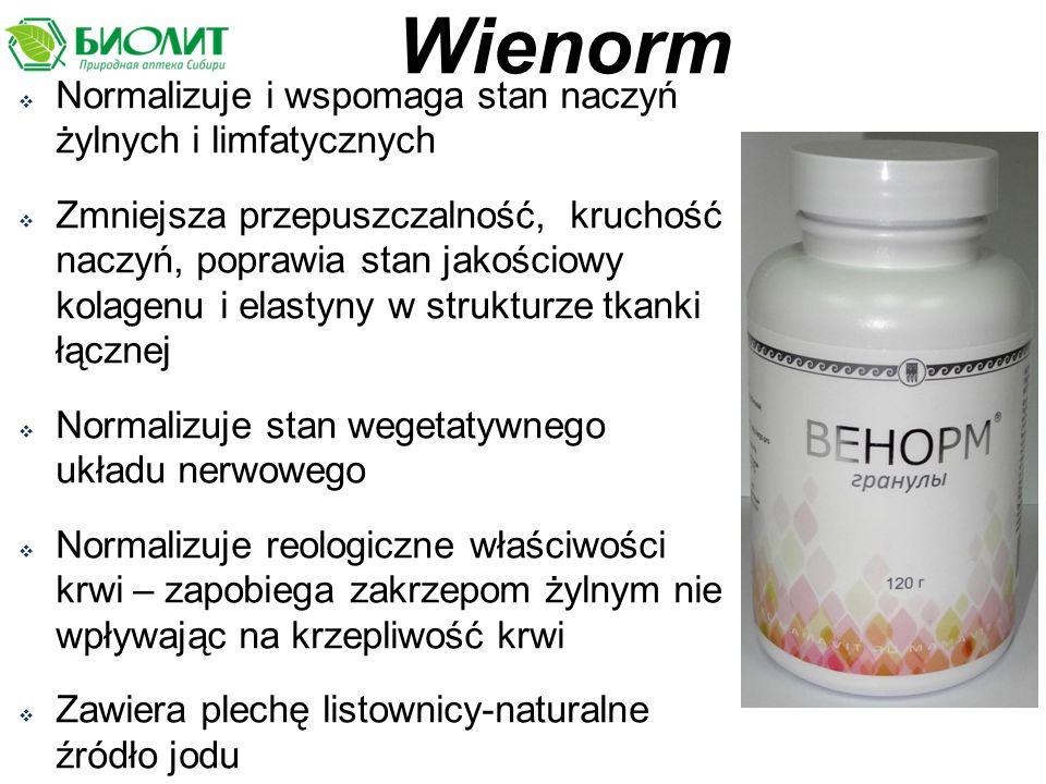 Wienorm Normalizuje i wspomaga stan naczyń żylnych i limfatycznych
