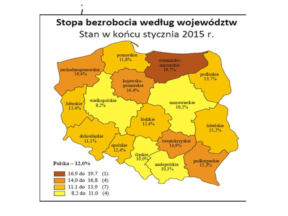Stopa bezrobocia w Polsce /stan na 31 stycznia 2008 r./