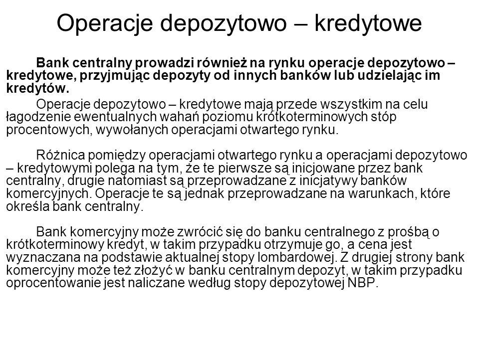 Operacje depozytowo – kredytowe