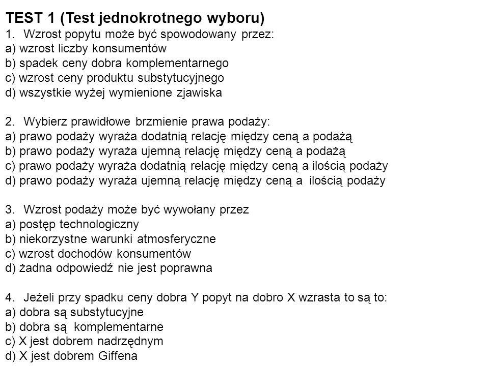 TEST 1 (Test jednokrotnego wyboru)