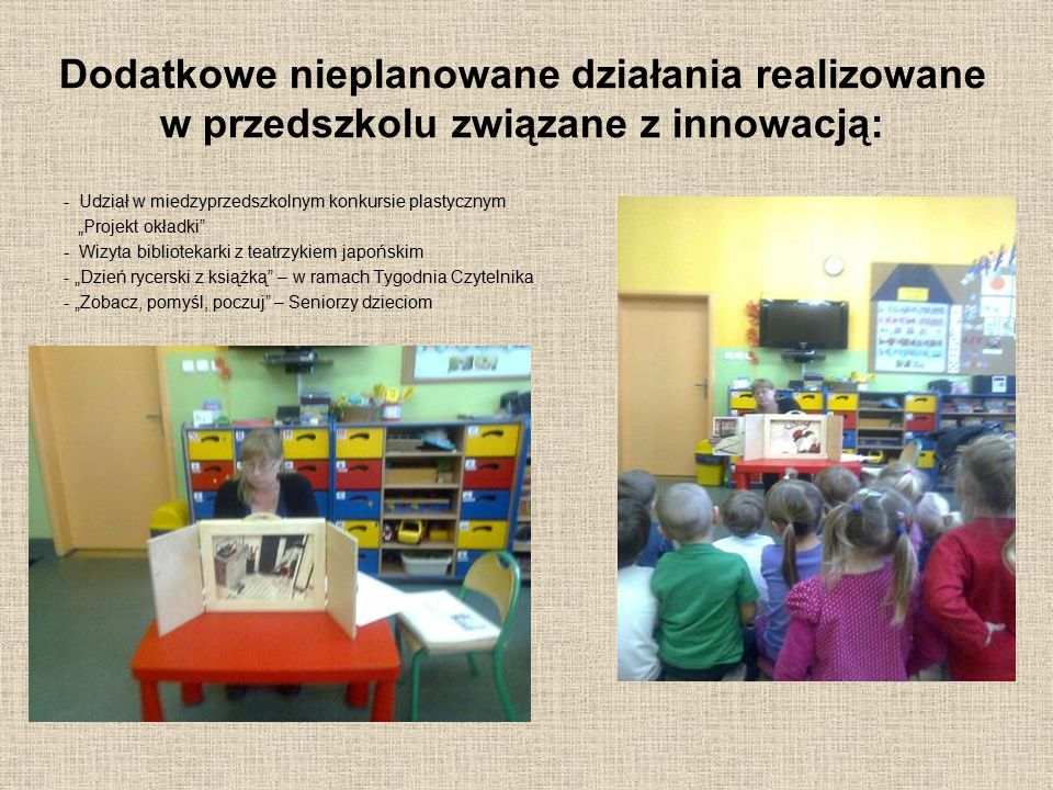 Dodatkowe nieplanowane działania realizowane w przedszkolu związane z innowacją:
