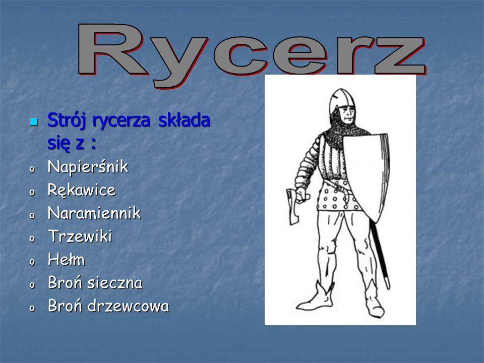 Rycerz Strój rycerza składa się z : Napierśnik Rękawice Naramiennik