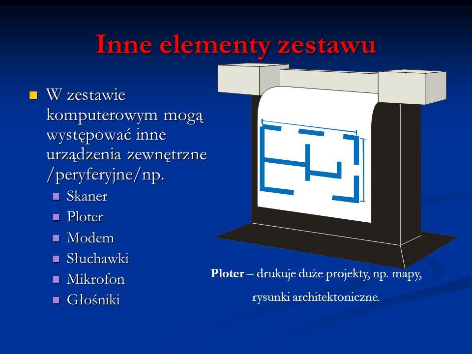 Inne elementy zestawu W zestawie komputerowym mogą występować inne urządzenia zewnętrzne /peryferyjne/np.