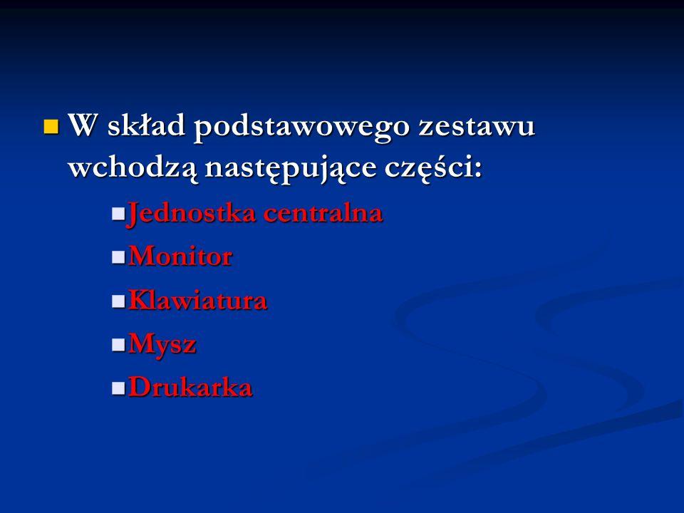 W skład podstawowego zestawu wchodzą następujące części: