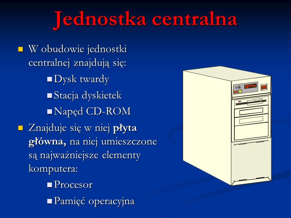 Jednostka centralna W obudowie jednostki centralnej znajdują się: