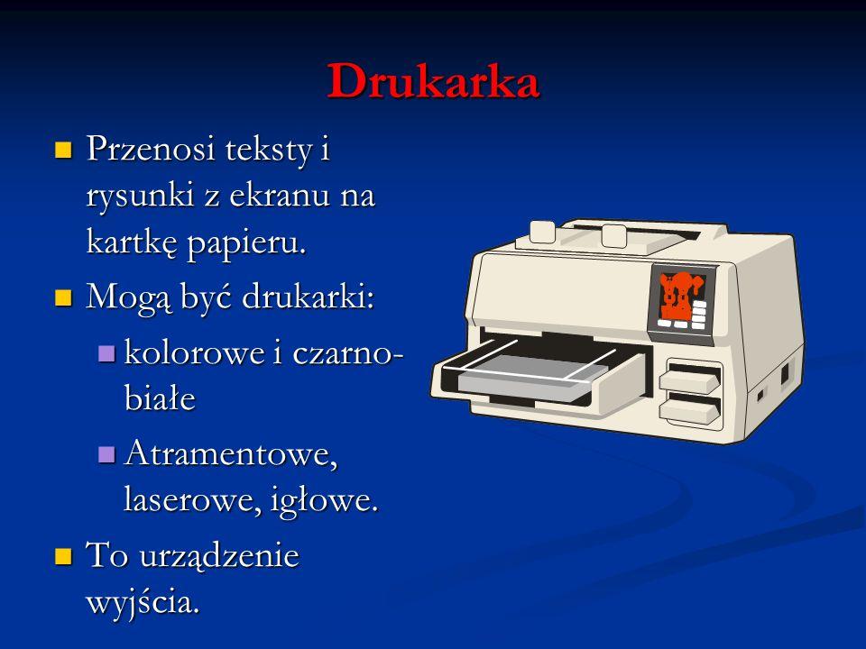 Drukarka Przenosi teksty i rysunki z ekranu na kartkę papieru.
