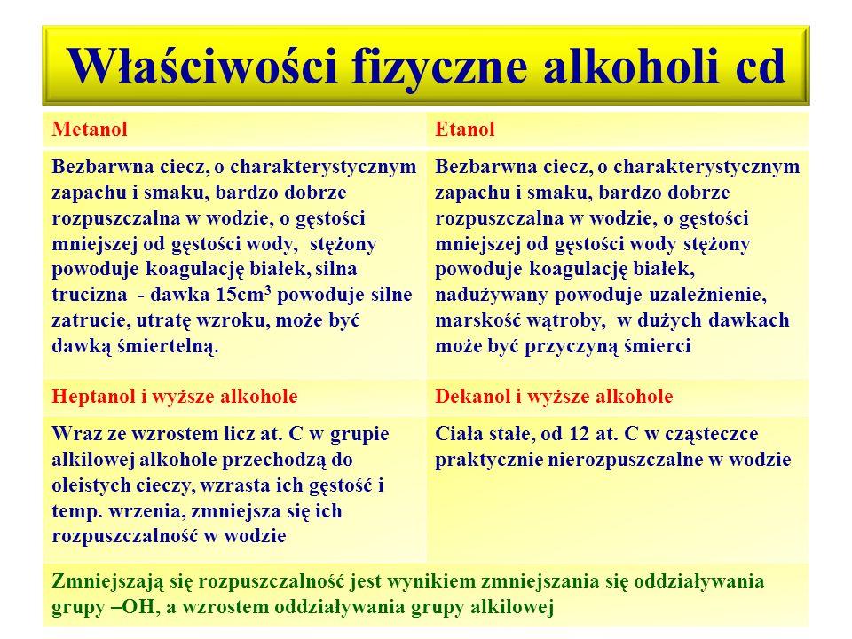 Właściwości fizyczne alkoholi cd