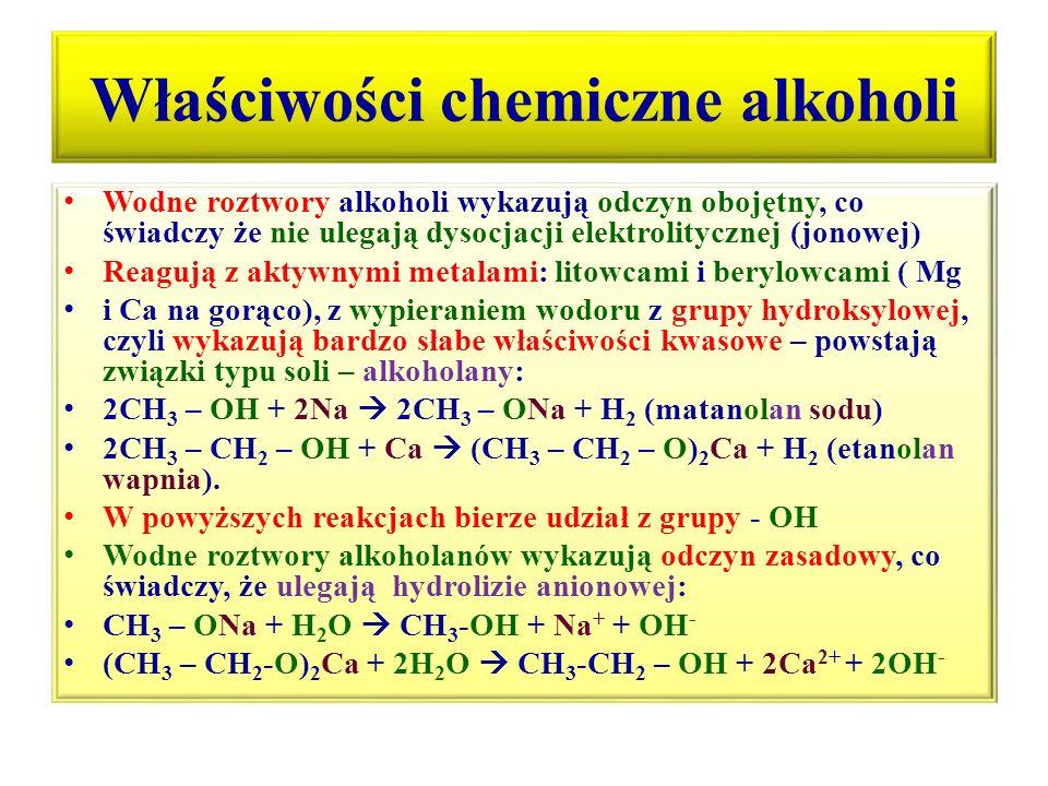 Właściwości chemiczne alkoholi