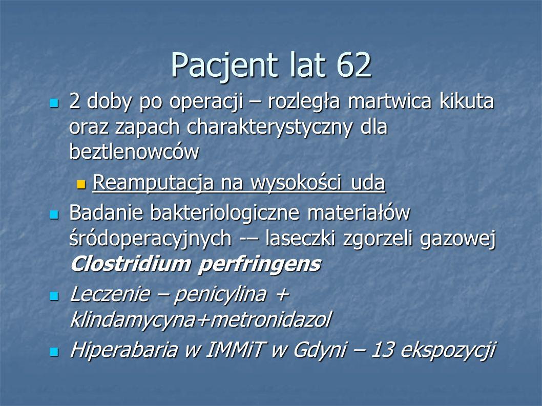 Pacjent lat 62 2 doby po operacji – rozległa martwica kikuta oraz zapach charakterystyczny dla beztlenowców.