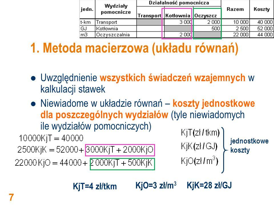 1. Metoda macierzowa (układu równań)