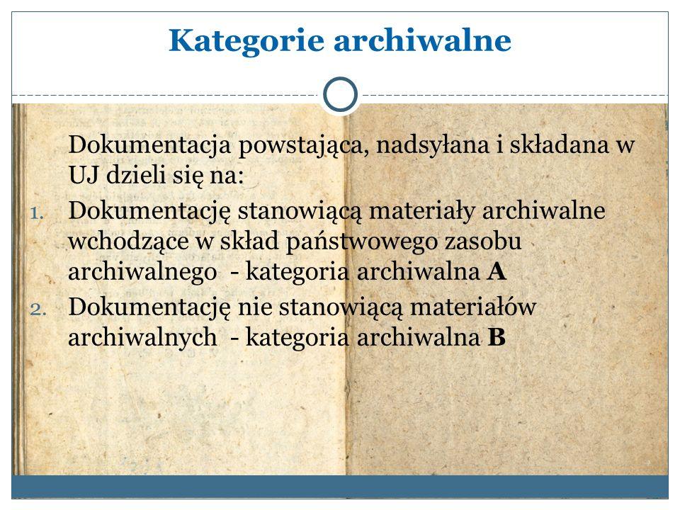 Kategorie archiwalne Dokumentacja powstająca, nadsyłana i składana w UJ dzieli się na: