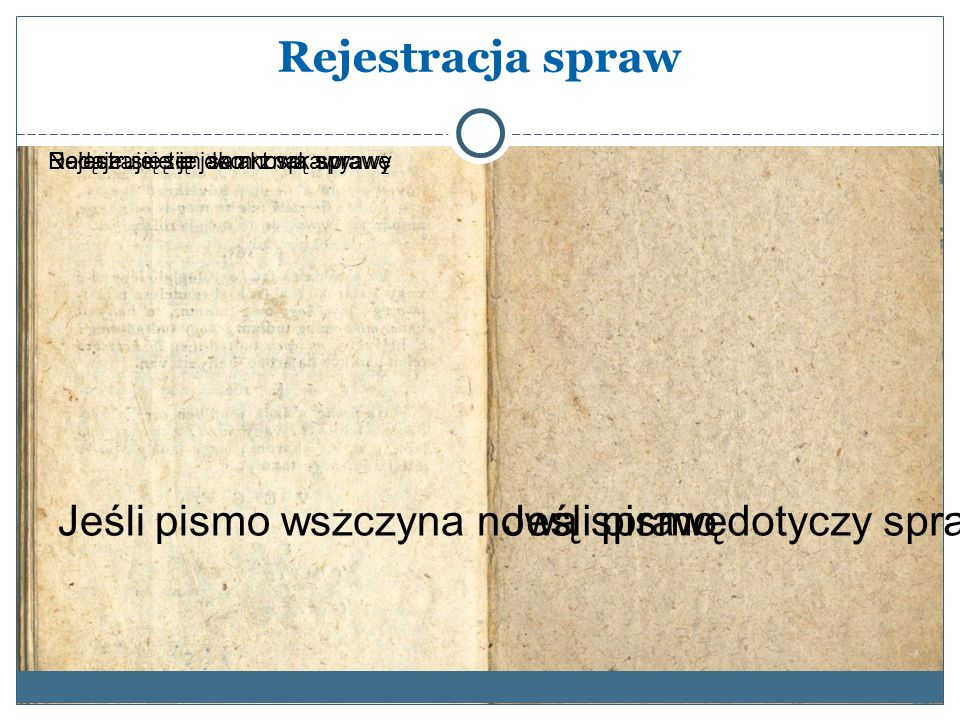Rejestracja spraw Jeśli pismo dotyczy sprawy już wszczętej