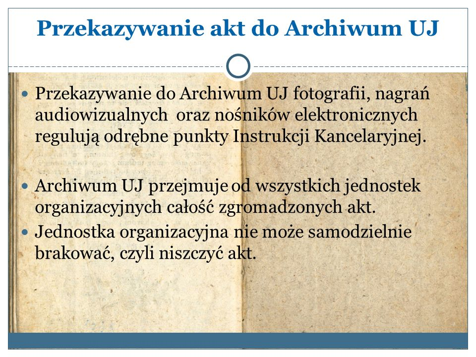 Przekazywanie akt do Archiwum UJ