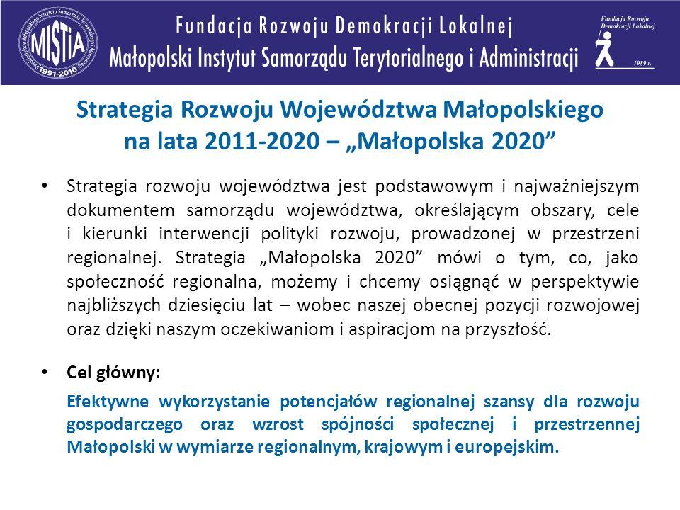"""Strategia Rozwoju Województwa Małopolskiego na lata 2011-2020 – """"Małopolska 2020"""