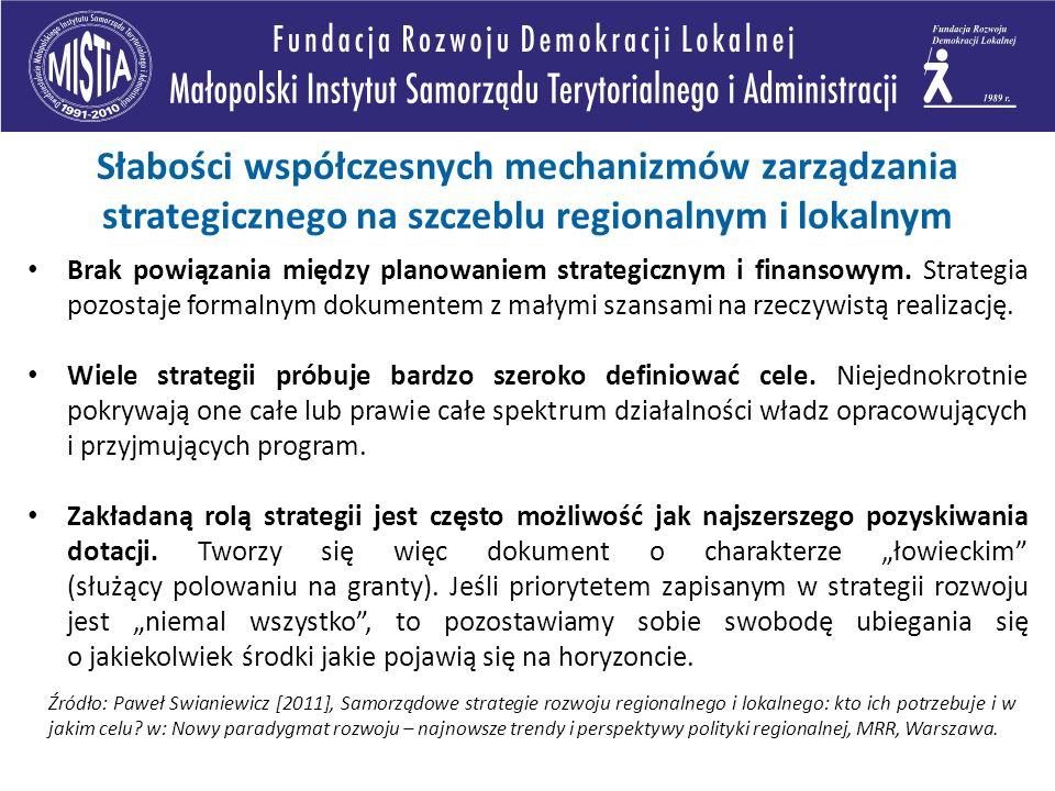 Słabości współczesnych mechanizmów zarządzania strategicznego na szczeblu regionalnym i lokalnym