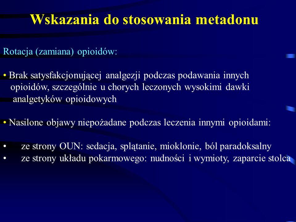 Wskazania do stosowania metadonu