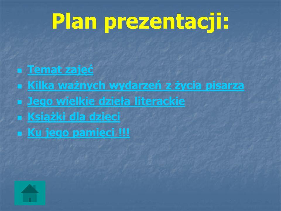 Plan prezentacji: Temat zajęć Kilka ważnych wydarzeń z życia pisarza