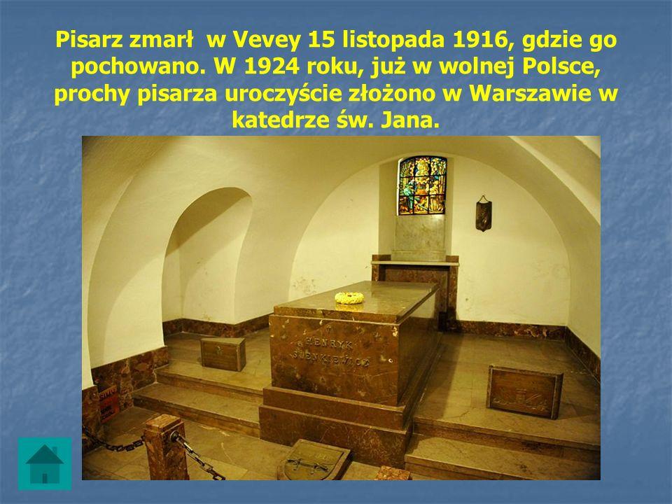 Pisarz zmarł w Vevey 15 listopada 1916, gdzie go pochowano