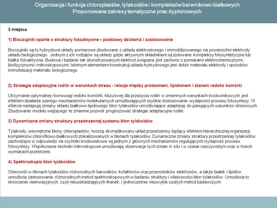 Proponowane zakresy tematyczne prac dyplomowych
