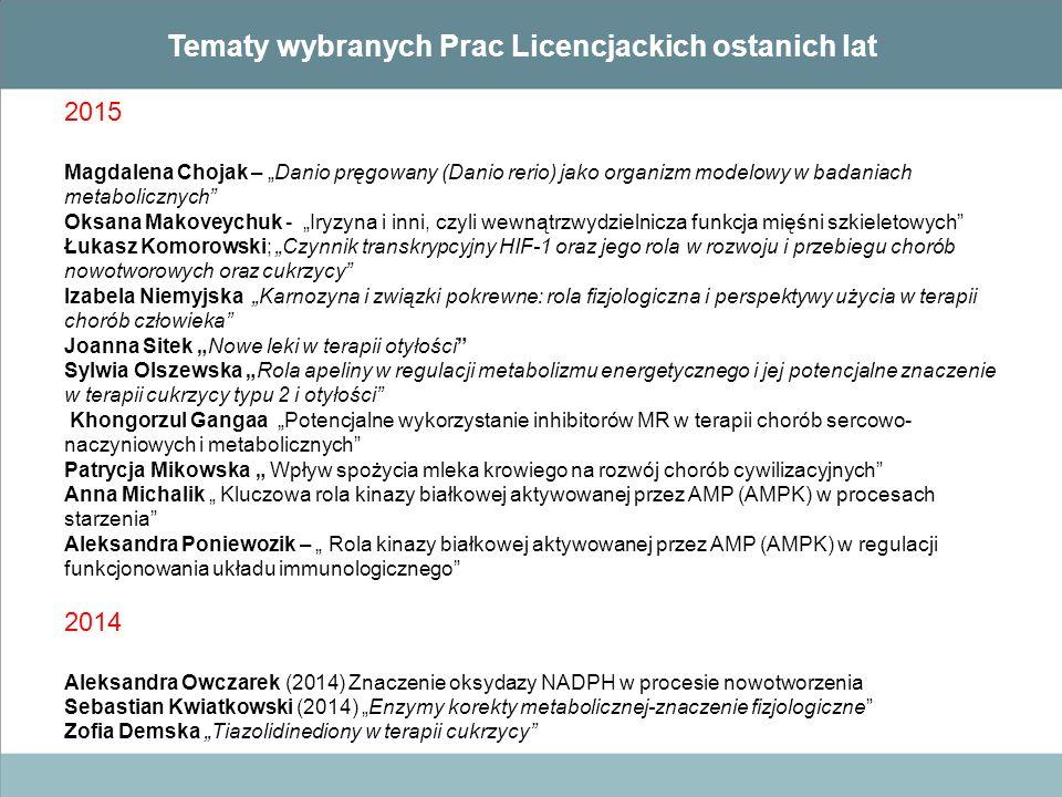 Tematy wybranych Prac Licencjackich ostanich lat