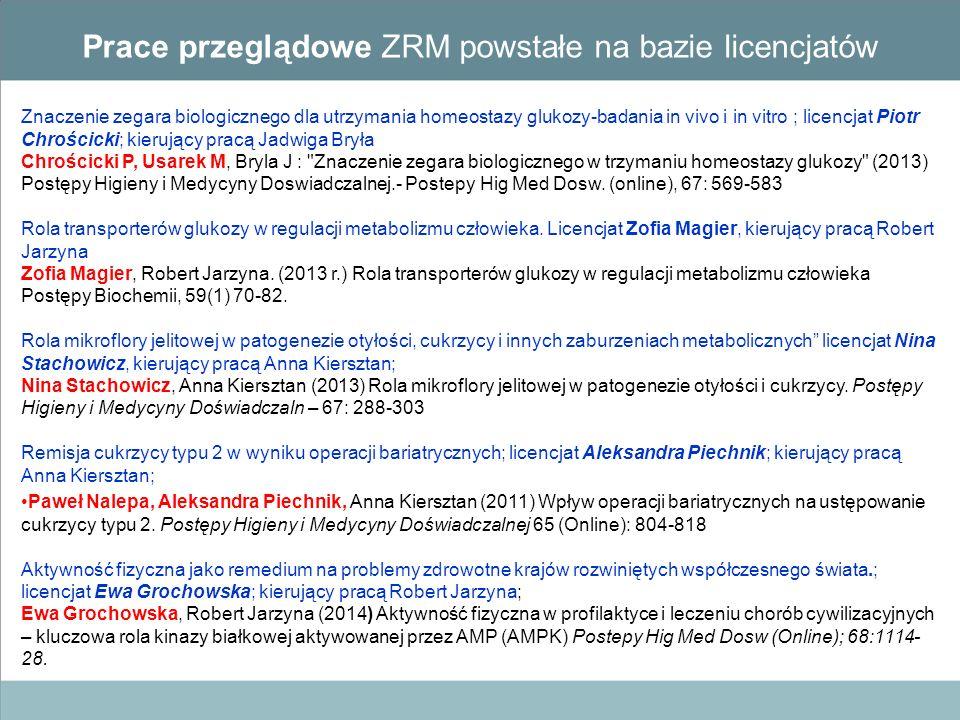 Prace przeglądowe ZRM powstałe na bazie licencjatów