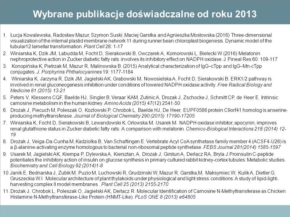 Wybrane publikacje doświadczalne od roku 2013