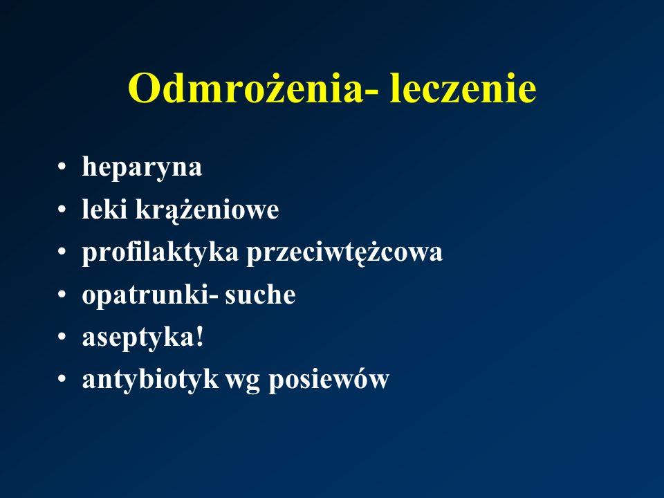 Odmrożenia- leczenie heparyna leki krążeniowe